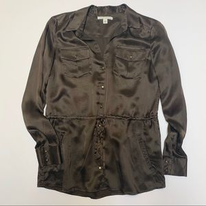 Banana Republic Small Silk Brown Tie Waist Blouse